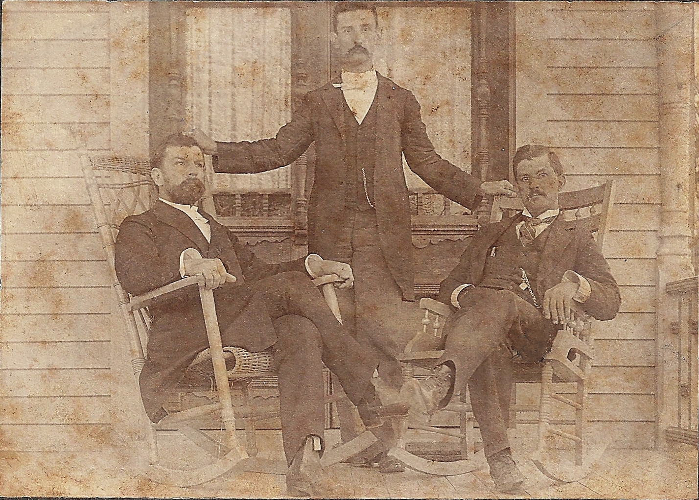 Heisig sons: Theodore the minister, Ernest the physician and CT the businessman, taken May 27, 1901 in front of Ernest's house in Houston, Texas
