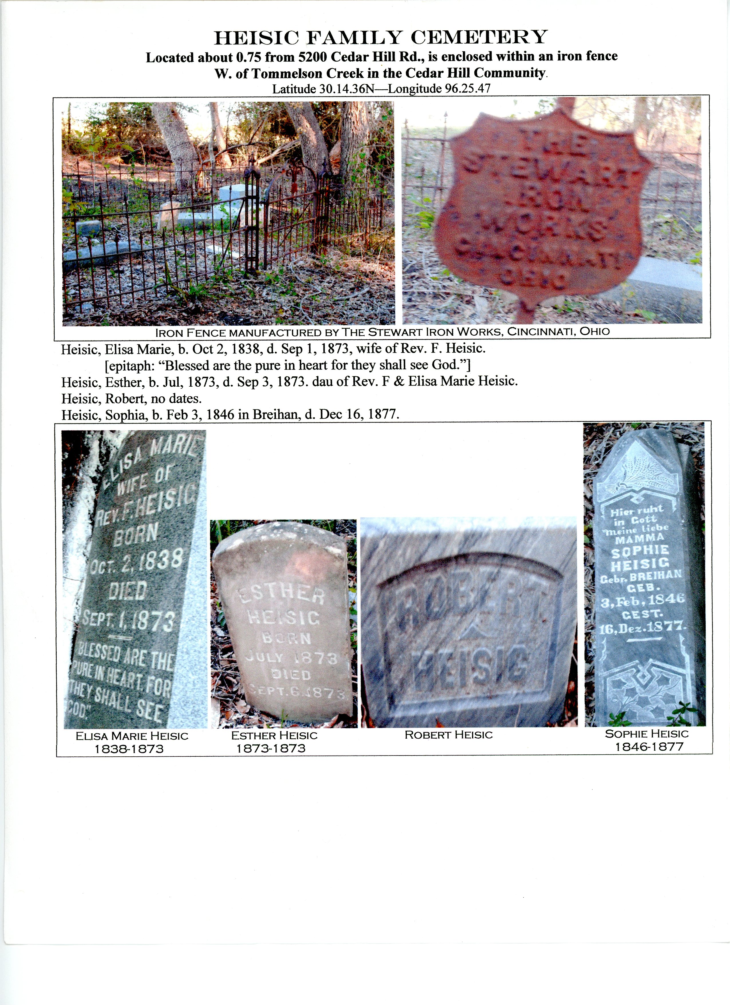 """Heisig cemetery"" mentioned in Washington County deeds for years and found on private property in 2006."