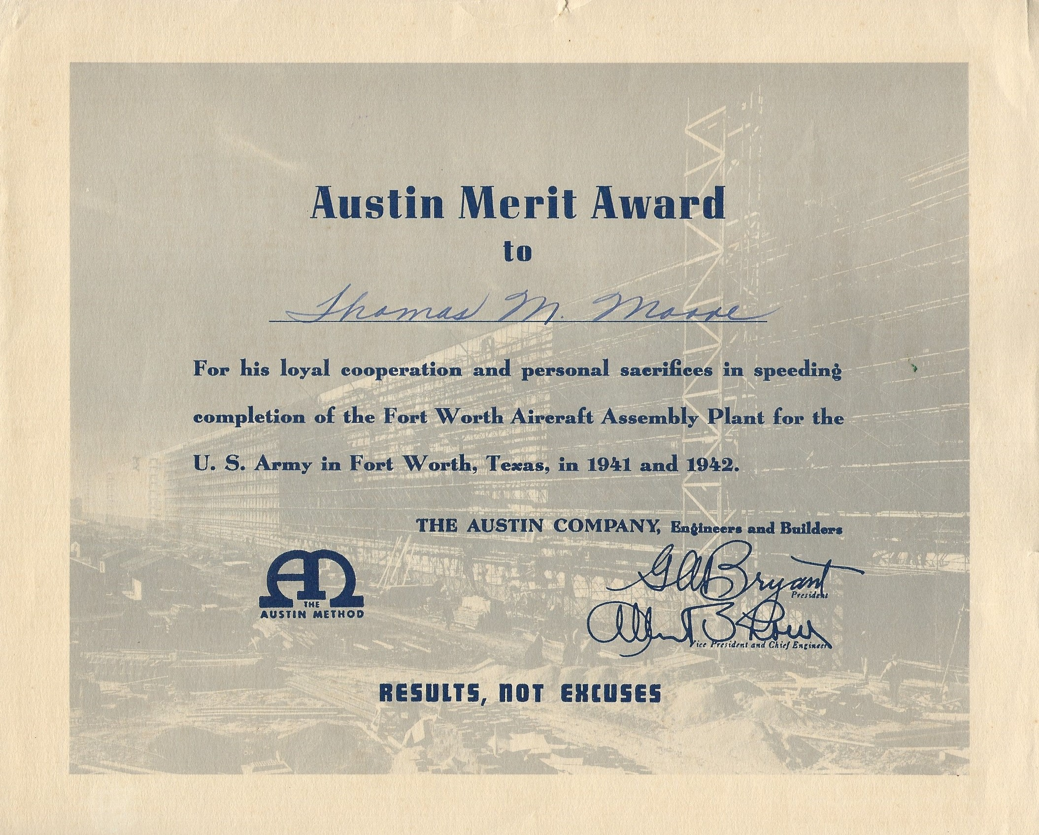 1942 TM Award FW Aircraft Plant
