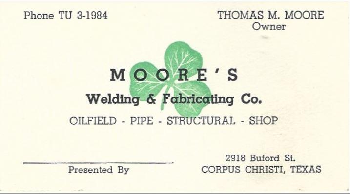 1947 Moore's Welding bus card