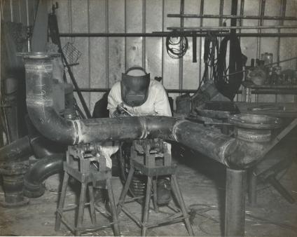 TM at Moore's Welding in 1949